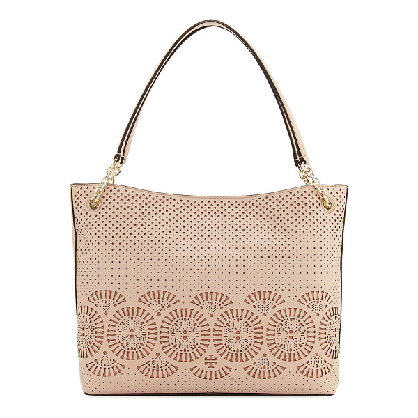 TORY BURCH Zoey Perforated Leather Tote Bag - Tory Burch tote bag in perforated leather. Flat shoulder...