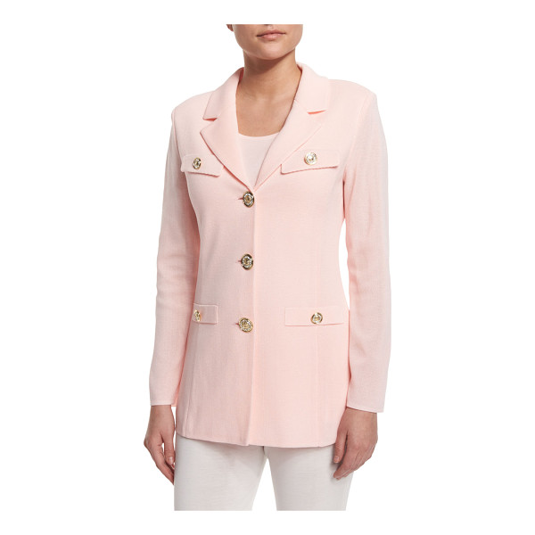 "MISOOK Dressed Up Button-Front Jacket - Misook knit jacket with jeweled buttons. Approx. 28""L from..."