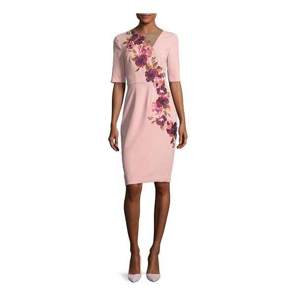 TRINA TURK Floral-Embroidered 3/4-Sleeve Sheath Dress - Trina Turk crepe dress with asymmetric floral embroidery....