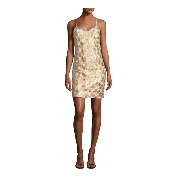 "TRINA TURK Highlight Sleeveless Metallic Cocktail Dress - Trina Turk ""Highlight"" mini cocktail dress with patterned..."