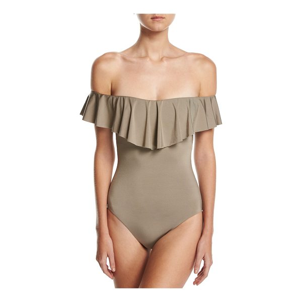 "TRINA TURK Studio Solids Off-the-Shoulder One-Piece Swimsuit - Trina Turk one-piece swim suit from the ""Studio Solids""..."