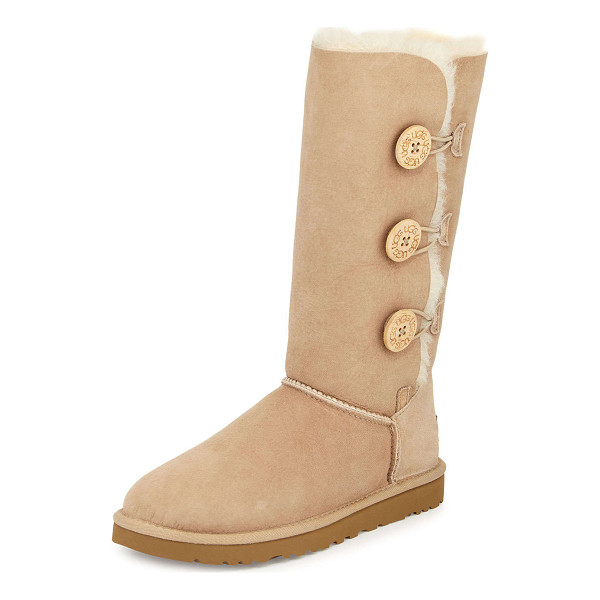 UGG Bailey Triple-Button Tall Boot - UGG twin-face sheepskin tall boot. Dyed lamb shearling fur...