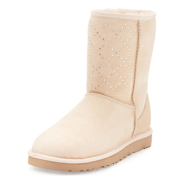 UGG Classic Short Crystal Suede Boot - UGG crystal-embellished calf suede boot. Dyed lamb...
