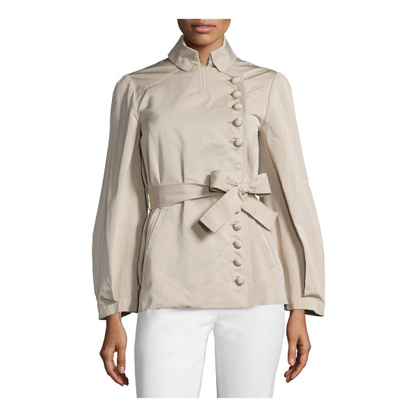 VALENTINO Asymmetric Button-Front Belted Jacket - Valentino woven jacket. Folded collar; asymmetric button...