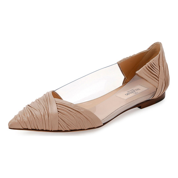 VALENTINO B-Drape Leather Ballerina Flat - Valentino Garavani ruched calf leather ballerina flat with...
