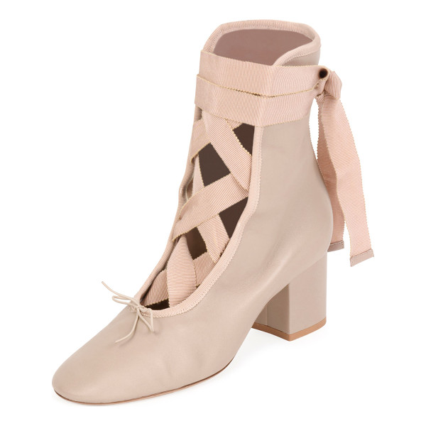 VALENTINO Ballet Napa Leather Lace-Up Bootie - Valentino Garavani napa leather bootie with grosgrain trim....