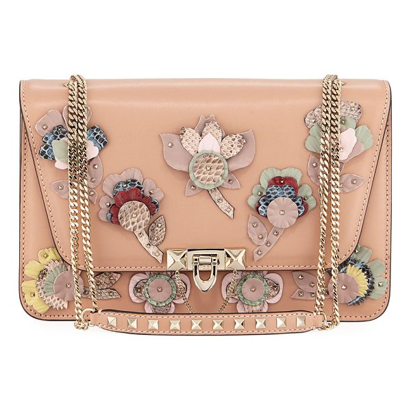 VALENTINO Demilune Flowers Vitello Shoulder Bag - EXCLUSIVELY AT NEIMAN MARCUS Valentino Garavani calf...