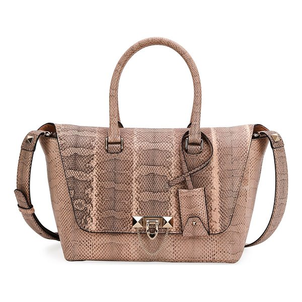 VALENTINO Demilune Small Watersnake Satchel Bag - Valentino Garavani watersnake satchel bag. Rolled top...
