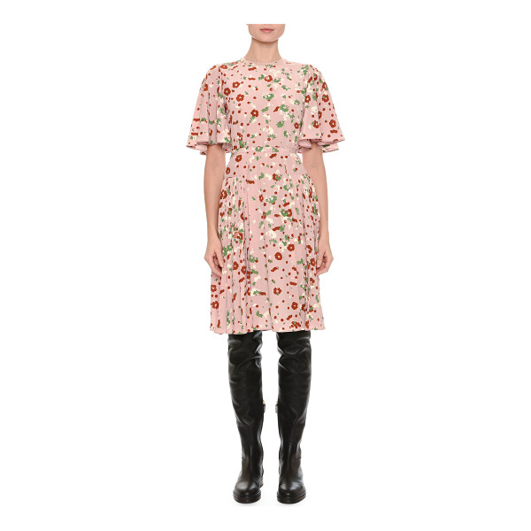VALENTINO Floral-Print Flutter-Sleeve Dress - Valentino crêpe de chine dress in floral print featured in...