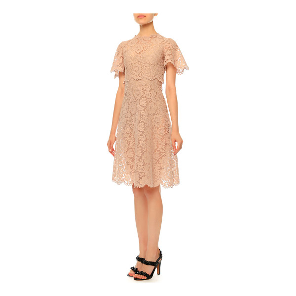 VALENTINO Flutter-sleeve heavy-lace dress - Valentino lace dress. Jewel neckline. Flutter sleeves....