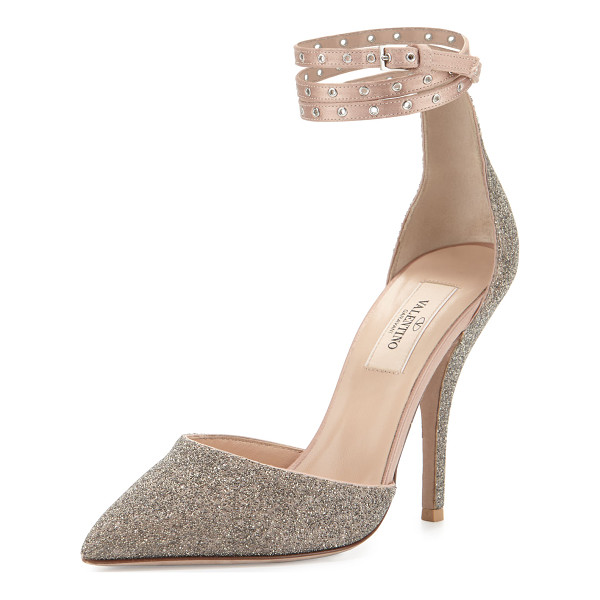 """VALENTINO Glitter Pointed-Toe Ankle-Wrap Pump - Valentino Garavani glitter-covered leather pump. 4.1""""..."""
