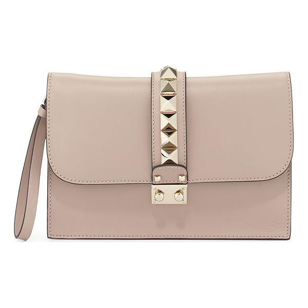 VALENTINO Lock Grain Wristlet Large Clutch Bag - Valentino smooth calf leather wristlet clutch. Shiny golden...