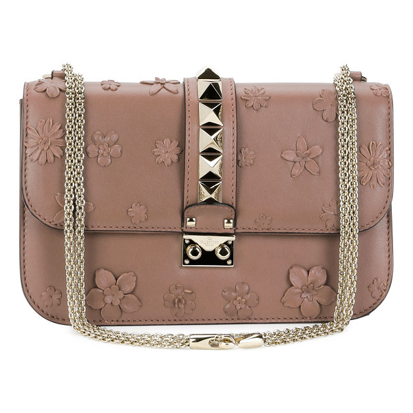 VALENTINO Lock Medium Floral Shoulder Bag - Valentino leather shoulder bag with floral appliqu.