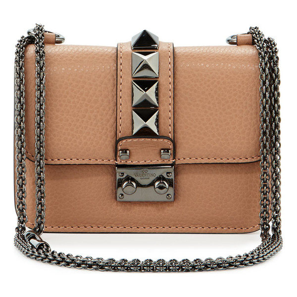 VALENTINO Lock Micro Mini Shoulder Bag - Valentino Garavani pebbled calfskin shoulder bag. Signature