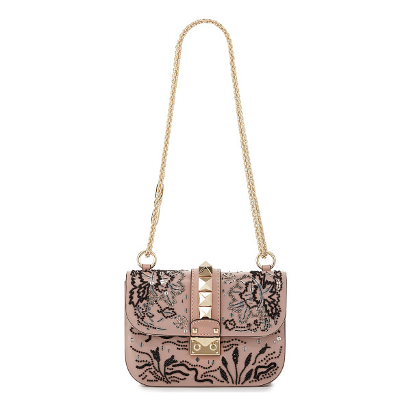 VALENTINO Lock Small Beaded Floral Shoulder Bag - Valentino Garavani calfskin shoulder bag with beaded floral