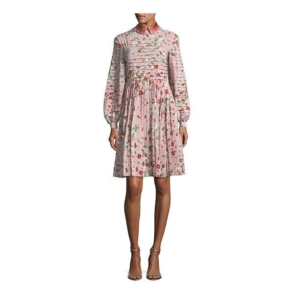 VALENTINO Long-Sleeve Floral-Print Silk Dress - Valentino dress in floral-print crêpe de chine. Pintuck...