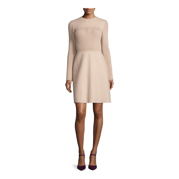 VALENTINO Long-Sleeve Jewel-Neck Sweater Dress - Valentino knit sweater dress. Jewel neckline. Long sleeves....