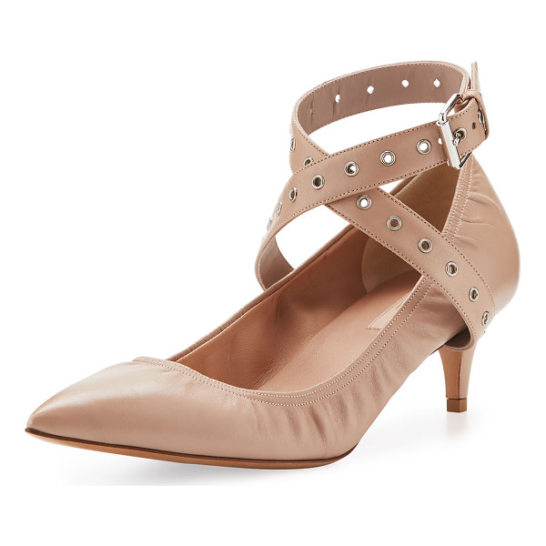 "VALENTINO Love Latch Leather 45mm Pump - Valentino napa kid leather pump. 1.8"" covered heel. Pointed..."
