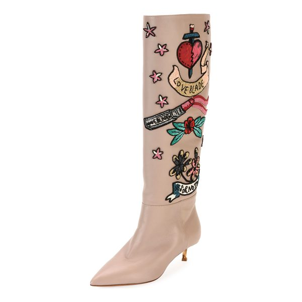 VALENTINO Loveblade Twist-Heel Embellished Knee Boot - Valentino Garavani soft leather knee-high boot with...