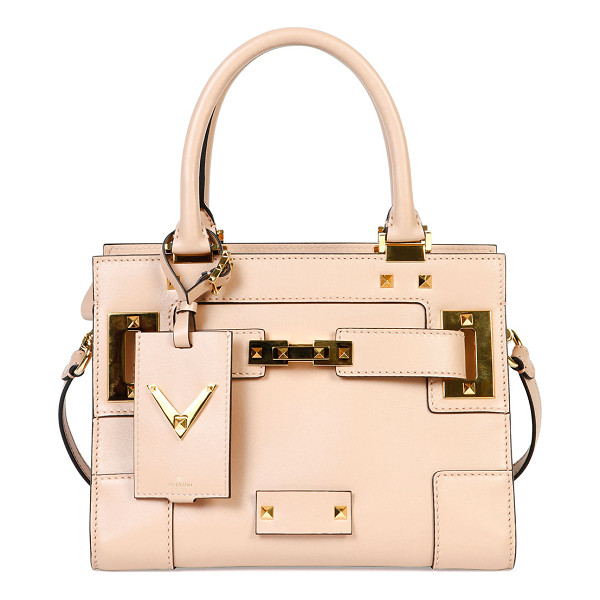 VALENTINO My rockstud mini top-handle tote bag - Valentino leather tote with layered topstitching and...