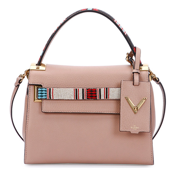 VALENTINO My rockstud small beaded satchel bag - Valentino pebbled calf leather satchel bag. Painted...