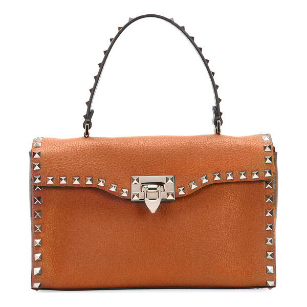 VALENTINO Rockstud Small Single-Handle Satchel Bag - Valentino grained calf leather satchel bag. Signature...