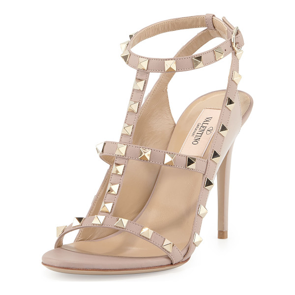 VALENTINO Rockstud Colorblock Caged 100mm Sandal - Valentino leather sandal with signature Rockstud trim. 4""