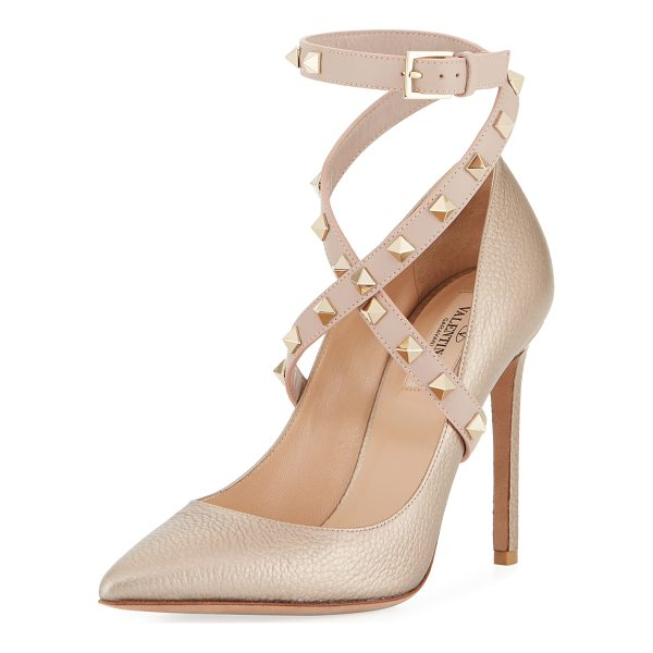 VALENTINO Rockstud Crisscross Ankle-Wrap Pump - EXCLUSIVELY AT NEIMAN MARCUS Valentino Garavani pebbled...