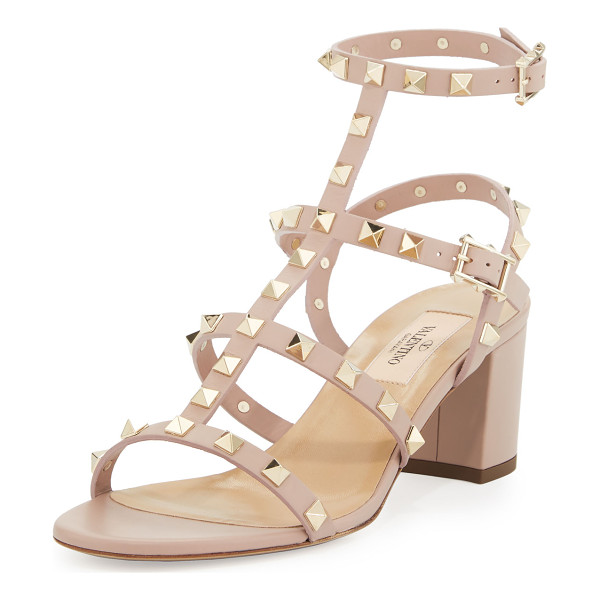 VALENTINO Rockstud leather city sandal - Valentino calf leather city sandal with signature Rockstud...