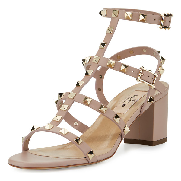 VALENTINO Rockstud Leather 60mm City Sandal - Valentino Garavani napa leather city sandal. Signature...