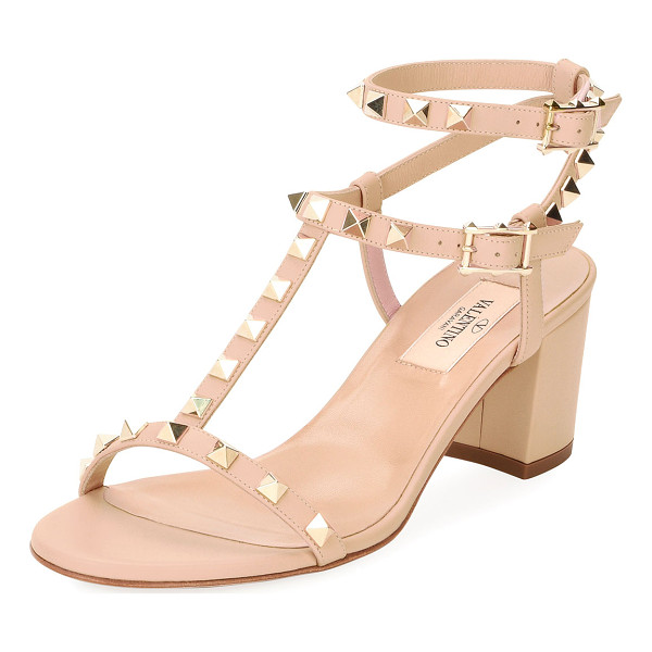 VALENTINO Rockstud Leather Low-Heel Sandal - Valentino Garavani leather sandal with signature Rockstud...