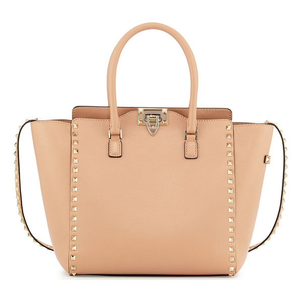 VALENTINO Rockstud leather pagoda shopper bag - Valentino smooth calf leather tote bag with signature...