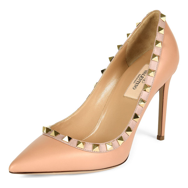 "VALENTINO Rockstud Leather 100mm Pump - Valentino Garavani vitello leather pump with napa trim. 4""..."
