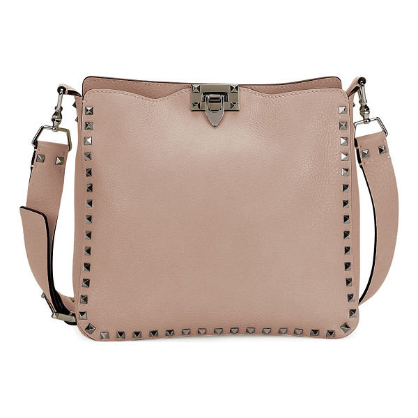 VALENTINO Rockstud Small Flip-Lock Hobo Bag - Valentino pebbled leather hobo bag. Available in multiple