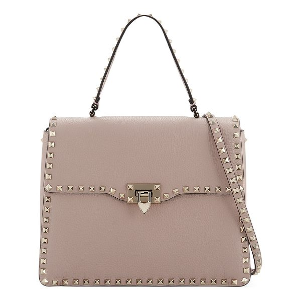 VALENTINO Rockstud Medium Leather Top-Handle Satchel Bag - Valentino Garavani pebble-grain leather satchel bag....