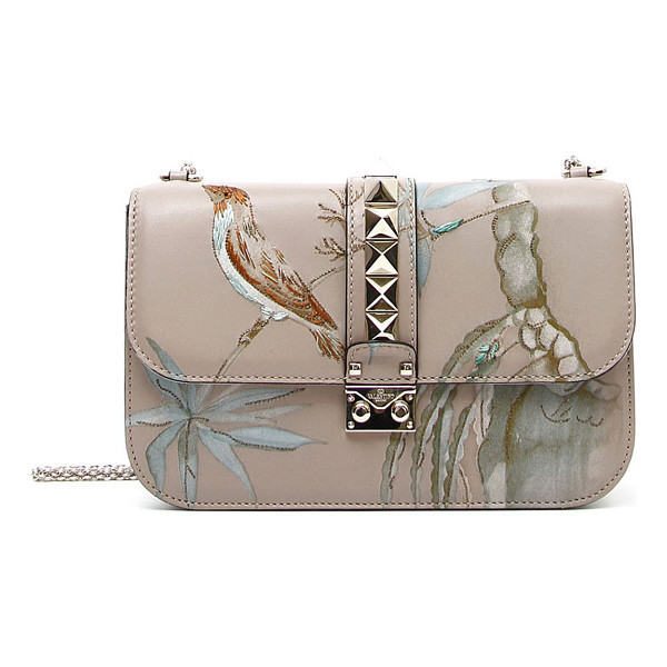 VALENTINO Rockstud medium lock embroidered leather bag - Valentino leather shoulder bag with embroidered botanical...