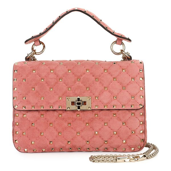 VALENTINO Rockstud Medium Quilted Suede Shoulder Bag - Valentino Garavani quilted suede shoulder bag with micro...
