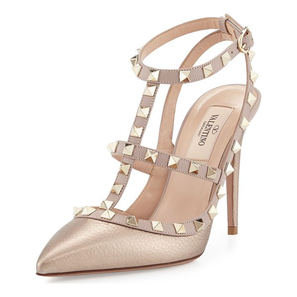VALENTINO Rockstud Metallic Leather T-Strap Pump - Grained metallic calf leather upper with tonal smooth...