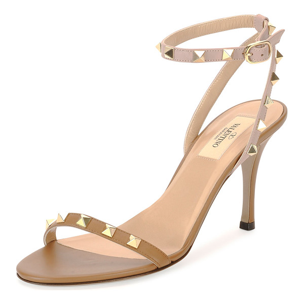 "VALENTINO Red  rockstud naked leather sandal -  Valentino leather sandal with signature Rockstud trim. 4""..."
