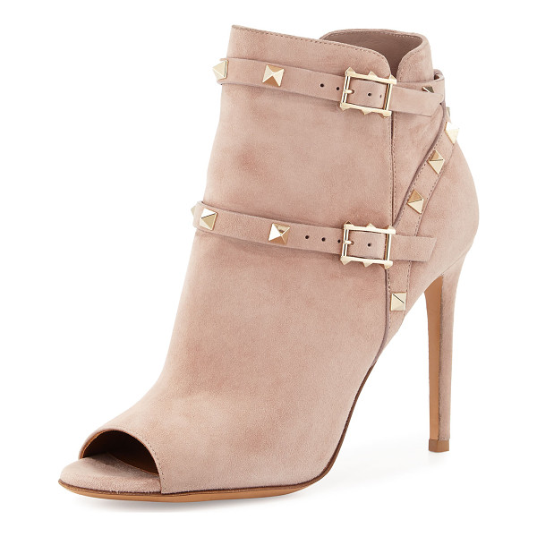 VALENTINO Rockstud Open-Toe 100mm Ankle Boot - Valentino suede ankle boot. Signature platino Rockstud...