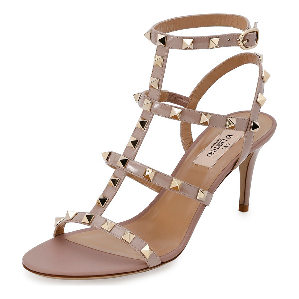 VALENTINO Rockstud Patent 70mm Sandal - Valentino patent and matte napa leather sandal. Signature