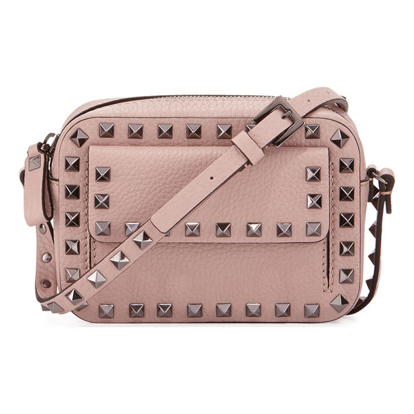 VALENTINO Rockstud Small Flap Pocket Camera Crossbody Bag - Valentino grained leather camera crossbody bag. Ruthenium