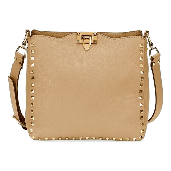 VALENTINO Rockstud Small Hobo Bag - Valentino pebbled calfskin messenger bag. Signature platino