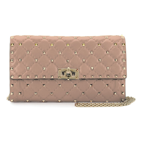 VALENTINO Rockstud Spike Chain Bag - Valentino Garavani quilted napa lambskin wallet-on-chain....
