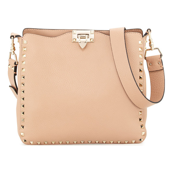 VALENTINO Rockstud Small Vitello Crossbody Bag - Valentino pebbled calf leather saddle bag. Shiny golden