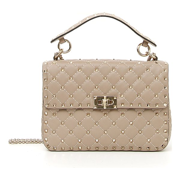 VALENTINO Rockstud Spike Medium Quilted Top-Handle Bag - Valentino Garavani quilted napa leather bag with signature...