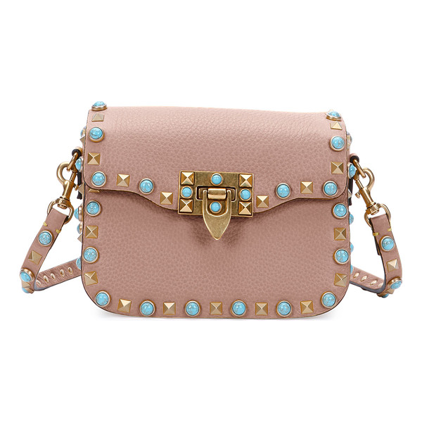"VALENTINO Rolling Rockstud Small Saddle Bag - Valentino ""Rolling Rockstud"" saddle bag in soft calf"