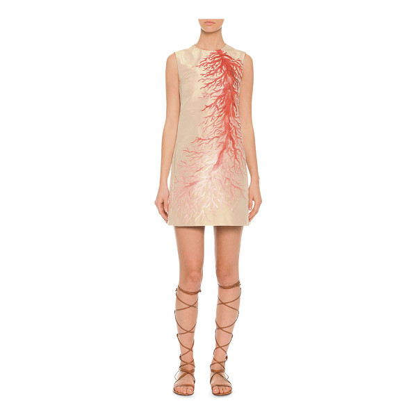 VALENTINO Red  sleeveless coral intarsia a-line dress -  Valentino dress. Coral intarsia detail across front. Jewel...