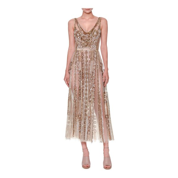 VALENTINO Sleeveless Sequined Tulle Gown - Valentino sequined sheer-tulle gown. V neckline....
