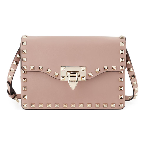 VALENTINO Small Rockstud Flap Crossbody Bag - Valentino smooth calf leather crossbody bag. Signature